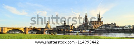 Skyline of Dresden at sunset. Germany