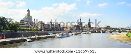 Skyline of Dresden in the sunshine day. Germany
