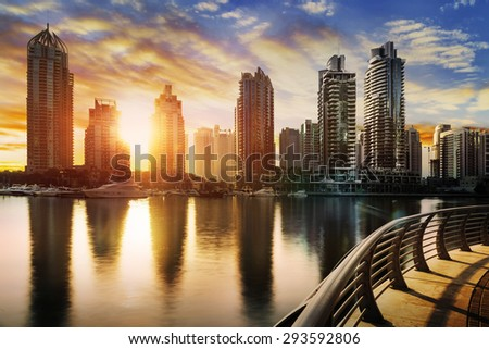 skyline of Dubai Marina at night with boats, United Arab Emirates, Middle East #293592806