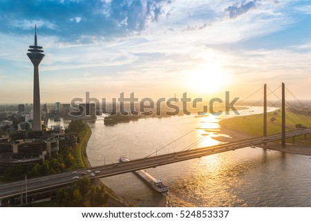 skyline of Dusseldorf in Germany during sunset #524853337