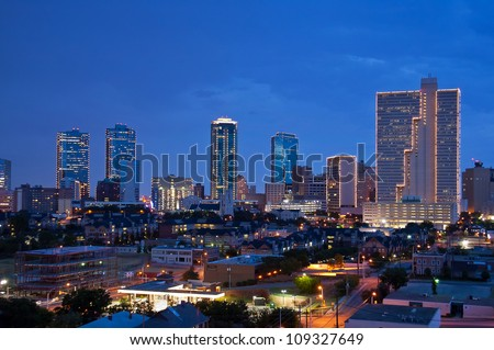 Skyline of Fort Worth Texas at night