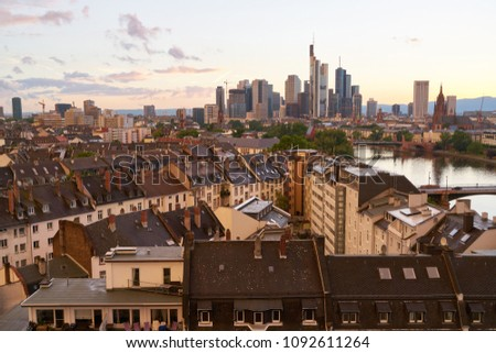 Skyline of Frankfurt am Main in the evening with skyscrapers and skyscrapers #1092611264