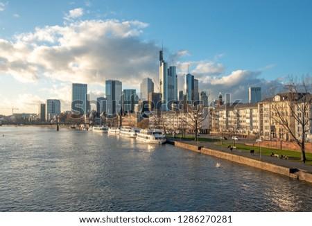 skyline of Frankfurt am Main with river Main #1286270281
