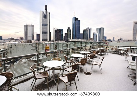 Skyline Of Frankfurt In Early Morning Covered With Fresh