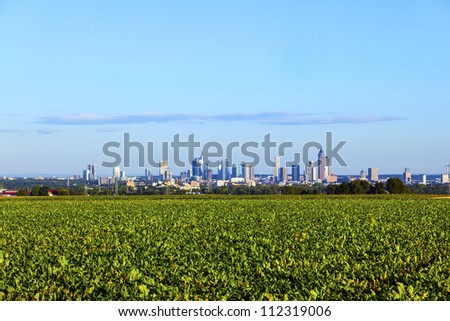 skyline of Frankfurt with fields in foreground