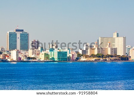 Skyline of Havana with several well known buildings as seen from the ocean