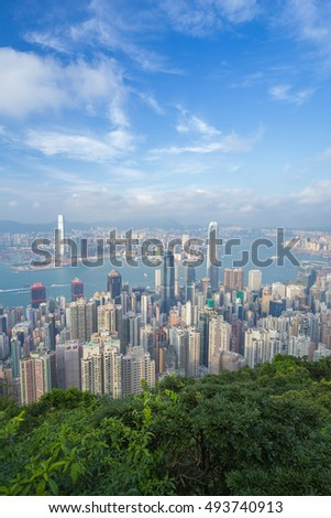 Skyline of Hong Kong city, view from The Peak
