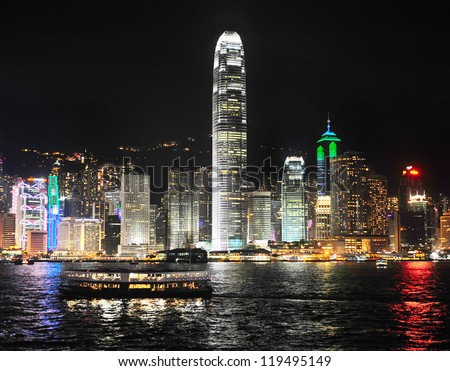 Skyline of Hong Kong island from Kowloon island