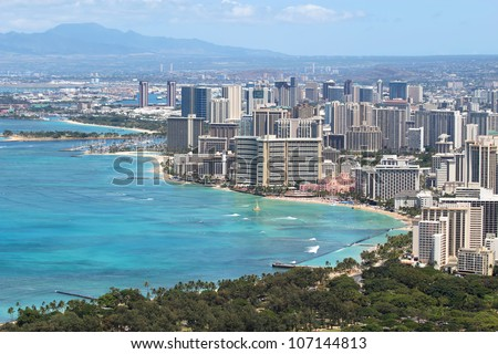 Skyline of Honolulu, Hawaii and the surrounding area including the hotels and buildings on Waikiki Beach