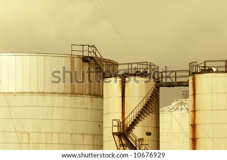 Skyline of industrial chemical factory manufacturing plant