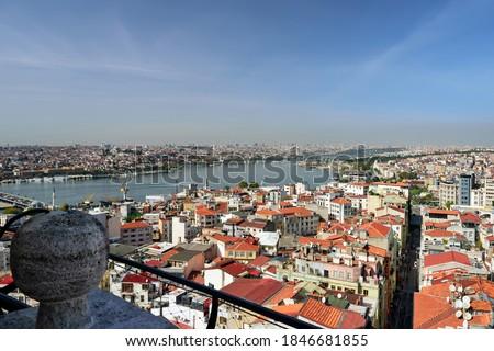 Skyline of Istanbul, as seen from Galata Tower. View of the Buyuk Hendek street in the Beyoglu District. City of Istanbul, Turkey. Stok fotoğraf ©
