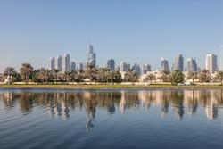 Skyline of Jumeirah Lakes Towers in Dubai, United Arab Emirates