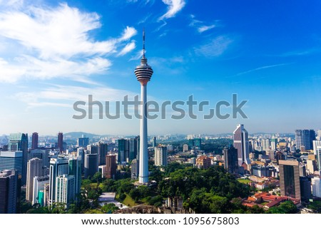 Skyline of Kuala Lumpur downtown with skyscrapers and KL tower