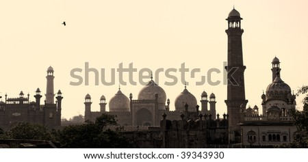 Skyline of Lahore old city scape with Badshahi Mosque, Pakistan - stock photo