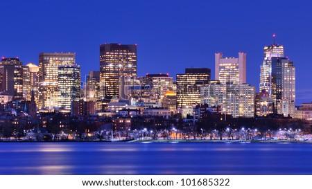 Skyline of landmark high rises in Back Bay, Boston, Massachusetts
