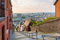 Skyline of Liège, Belgium as seen from the top of the 374-step Montagne de Bueren Staircase