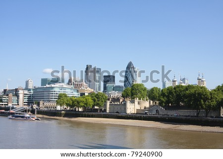 Skyline of london showing the famous Gherkin and the Tower of London