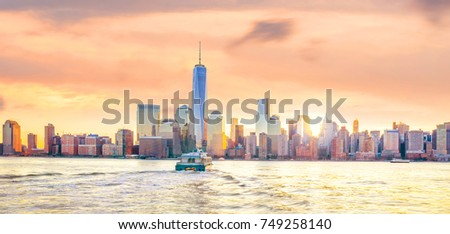 Skyline of lower Manhattan of New York City from Exchange Place at night  #749258140