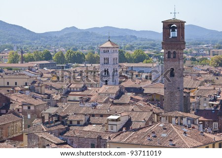 Skyline of Lucca, Italy.