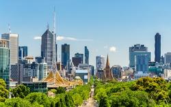 Skyline of Melbourne from Shrine of Remembrance - Australia