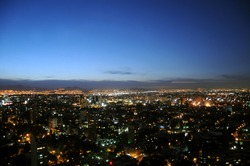 Skyline of Mexico City at twilight, shot from Colonio Polanco district towards northwest.