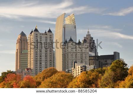 Skyline of midtown Atlanta, Georgia from Piedmont Park.