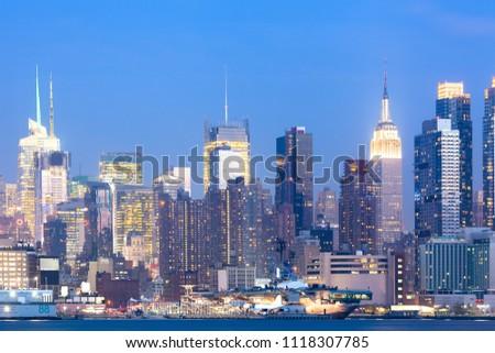Skyline of midtown Manhattan at night, New York City, NY, USA #1118307785
