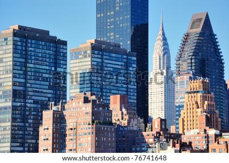 Skyline of midtown Manhattan in New York City with landmark skyscrapers.