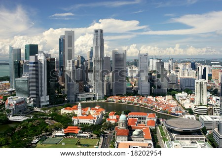Skyline of modern business district and colonial Boat Quay, Singapore
