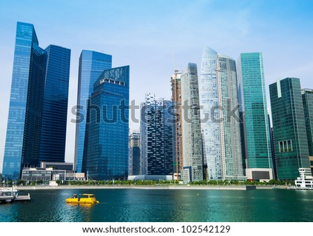 Skyline of modern business district in Singapore.
