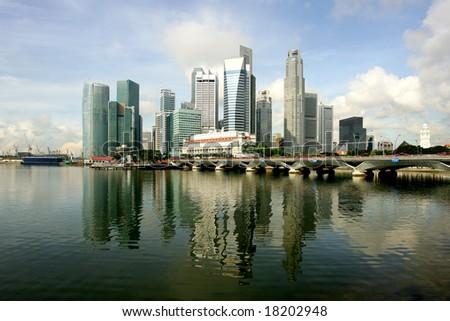 Skyline of modern business district, Singapore - stock photo