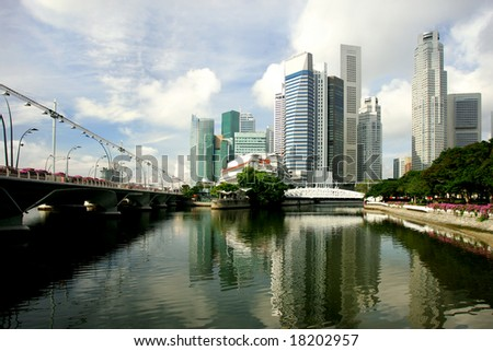Skyline of modern business district, Singapore