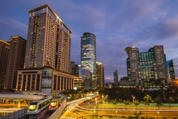 skyline of new taipei city in taiwan at night