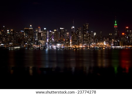 new york city skyline night. Skyline of New York City,