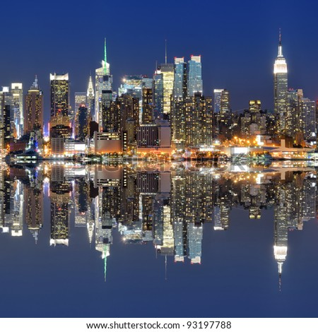 Skyline of New York city from across the Hudson River - stock photo