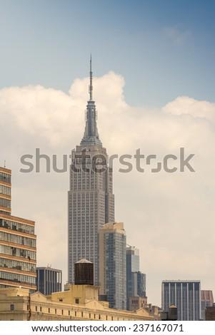 Skyline of New York from street level.