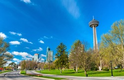 Skyline of Niagara Falls City in Ontario, Canada