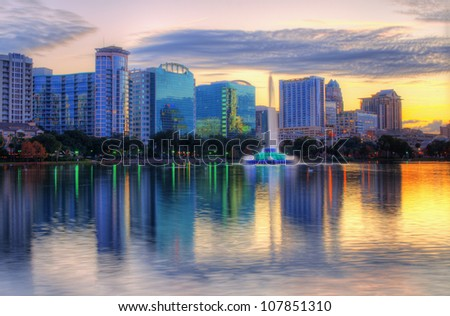Skyline of Orlando, Florida from lake Eola.