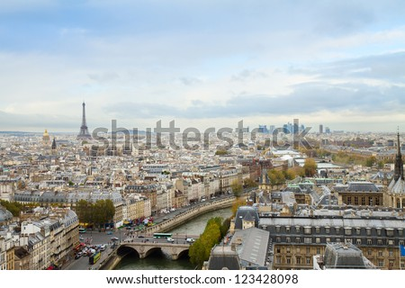 skyline of Paris city  from above, France