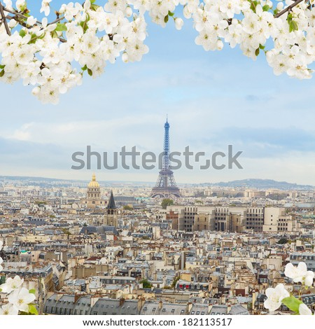 skyline of Paris city with Eiffel Tower from above at spring France