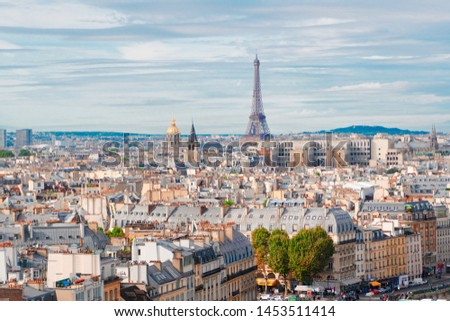 skyline of Paris city with famous eiffel tower from above in soft morning light with cloudscape, France #1453511414