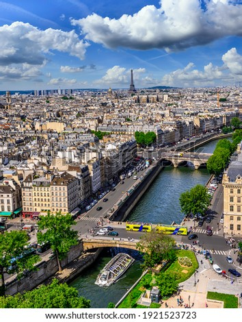 Skyline of Paris with Eiffel Tower and Seine river in Paris, France. Architecture and landmarks of Paris. Postcard of Paris