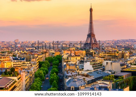 Skyline of Paris with Eiffel Tower in Paris, France. Panoramic sunset view of Paris #1099914143