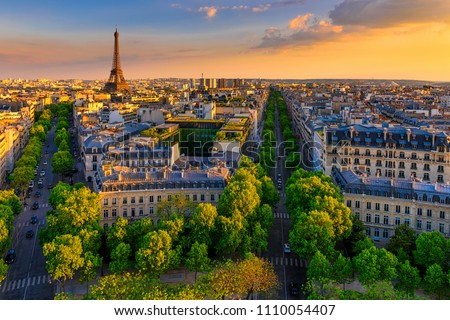 Skyline of Paris with Eiffel Tower in Paris, France. Panoramic sunset view of Paris. Architecture and landmark of Paris.  Stock photo ©