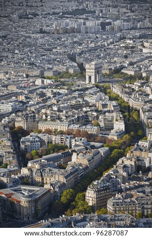 Skyline of Paris with the arch of triumph from the Eiffel Tower in Paris, France