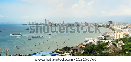 Skyline  of Pattaya from the view point. aerial view