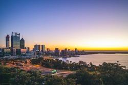 skyline of perth cbd at dawn in western australia, australia