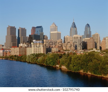 Skyline of Philadelphia, Pennsylvania from Schuylkill River at sunset