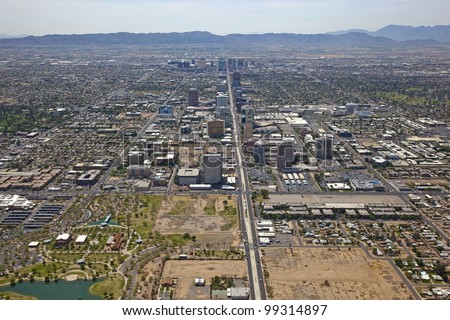 Skyline of Phoenix, Arizona looking south down Central Avenue from Indian School Road