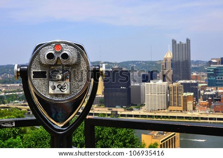 Skyline of Pittsburgh Pennsylvania with viewfinder